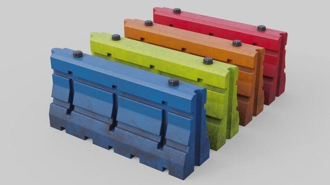 traffic barrier 3 3d model low-poly obj mtl fbx blend 1