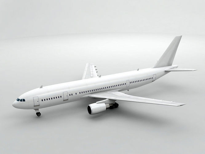 airbus a300-600 airliner - generic white 3d model low-poly max obj mtl 3ds dxf stl wrl wrz 1