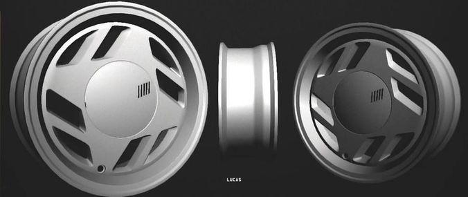 fiat uno scr wheel 3d model low-poly obj mtl 1