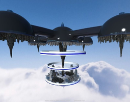 3D SciFi city in the sky