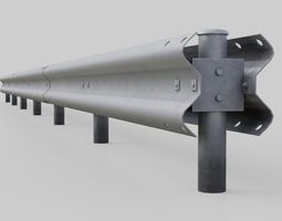 3D asset Road Safety Barrier 2A