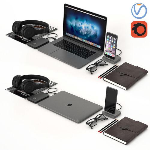 workplace space gray macbook  3d model max obj mtl 1