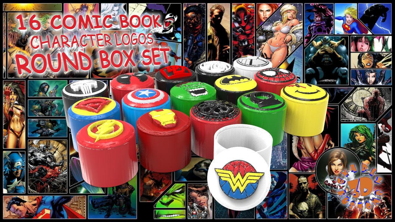16 Comic Book Character Logos Round Box Set | 3D Print Model