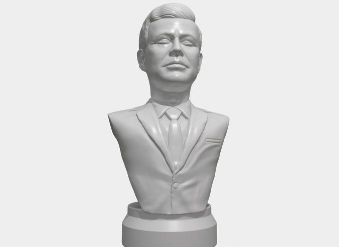 jfk 3d printable portrait sculpture  3d model obj mtl stl 1