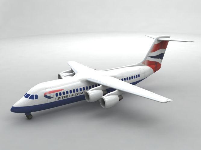 avro rj-100 - british airways 3d model max obj 3ds dxf stl wrl wrz 1