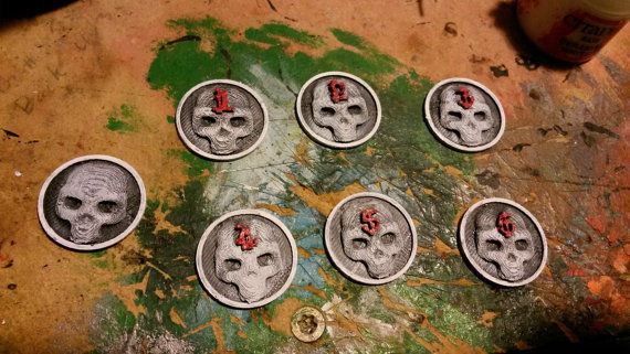 Skull Embossed Game Markers Numbered 1 to 6