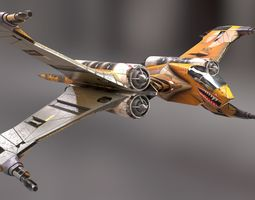T-Fighter space superiority fighter 3D asset