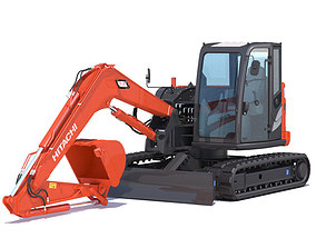 3D model Compact Excavator Hitachi ZX85USB