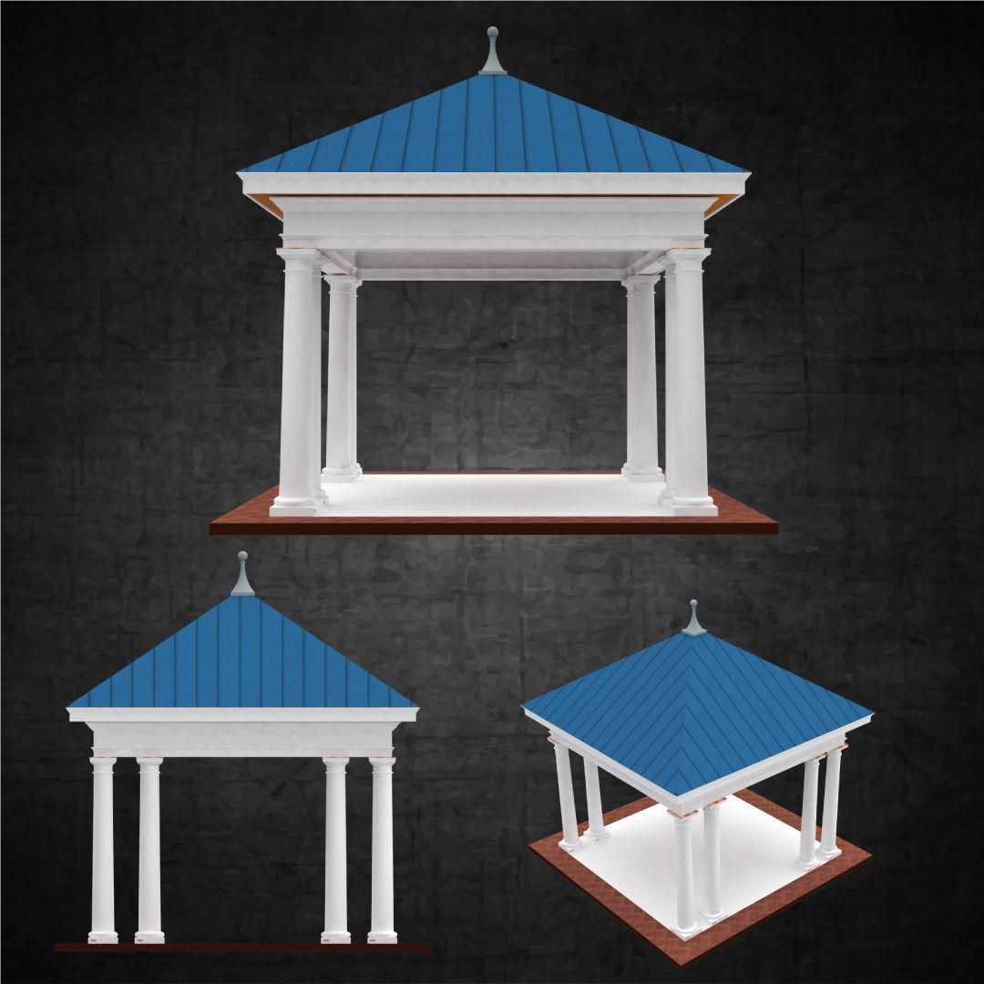 Pavilion free standing structure architectural hipped roof