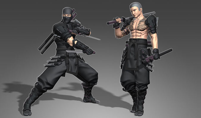 armored male ninja 3d model low-poly rigged max obj mtl fbx tga pdf spp 1