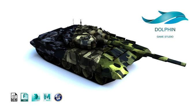 t-90 tank 3d model low-poly max obj mtl 3ds fbx ma mb uasset 1