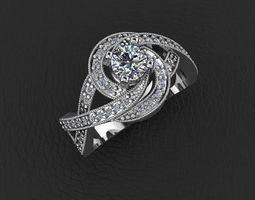 diamond ring jewelry design 3D print model