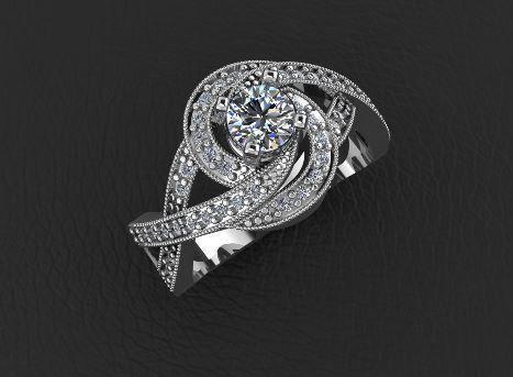diamond ring jewelry design  3d model stl 3dm 1