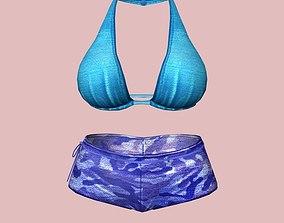 Sexy Blue Army Bikini 3D asset
