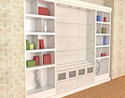 3D asset Wooden White Painted Bookshelf - Collector shelf