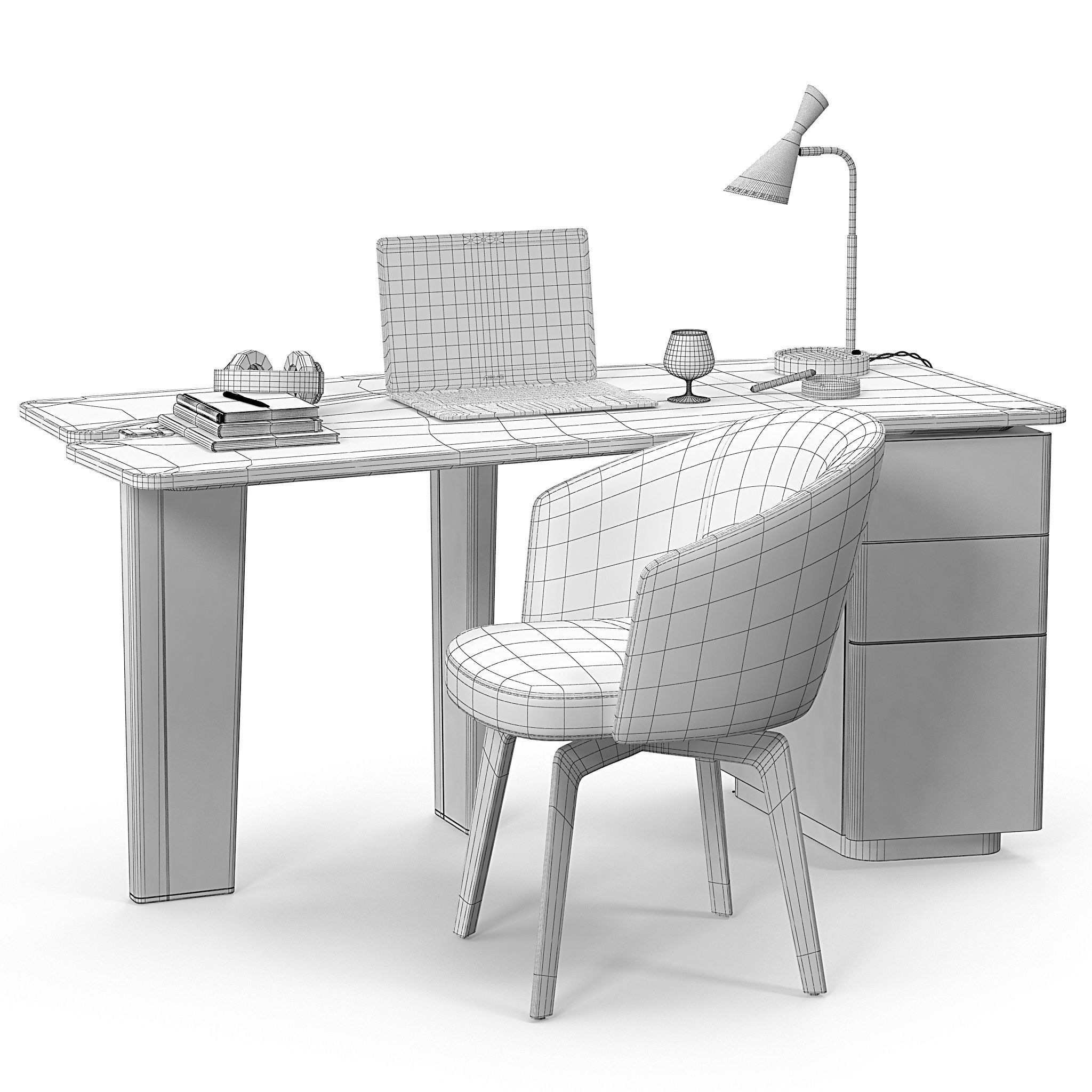 Minotti Jacob Desk Set 3d Model Max Obj Mtl 10