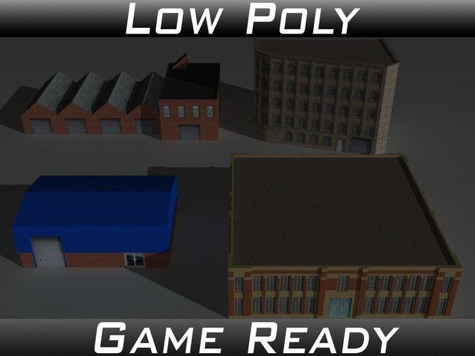 factory building set 2 3d model low-poly obj 3ds fbx mtl 1