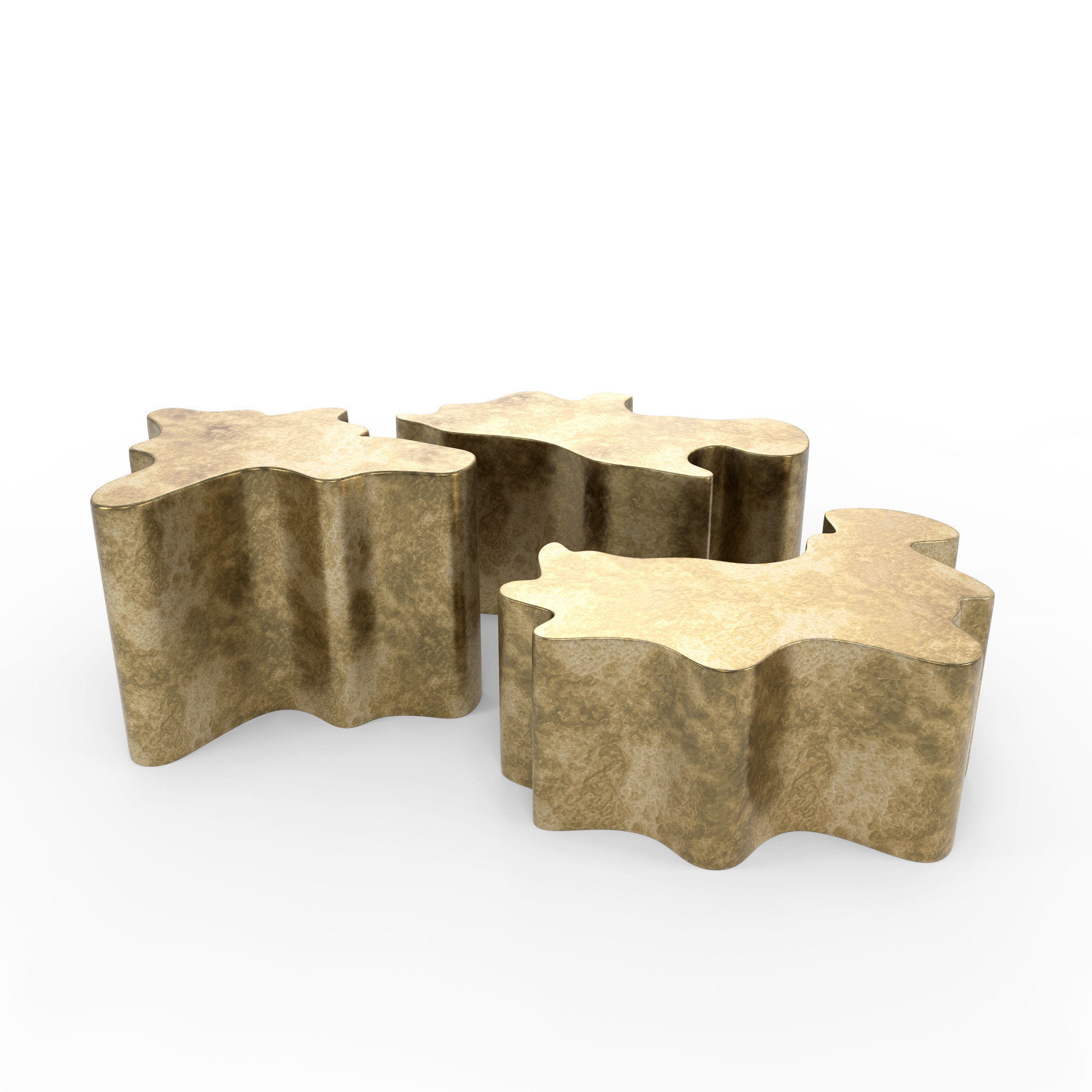 3D Gold Modern Coffee Table