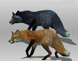 Red and Black Fox Animated with Fur 3D model