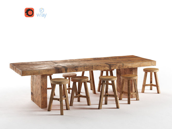 wooden dining table 3d model max obj mtl 1