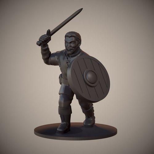 human swordsman miniature 01 3d model obj mtl fbx stl 1