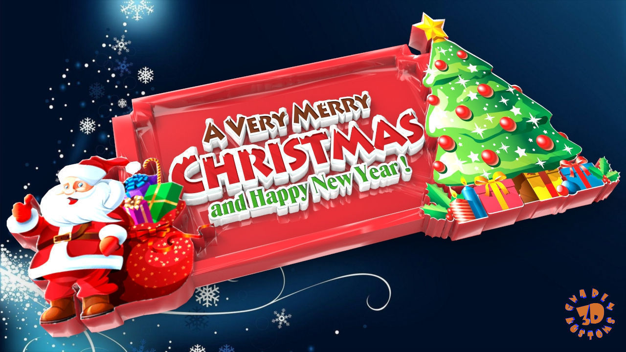 Very Merry Christmas.A Very Merry Christmas And Happy New Year Sign 3d Print Model