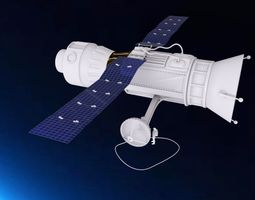 3D model Satellite with Astronaut