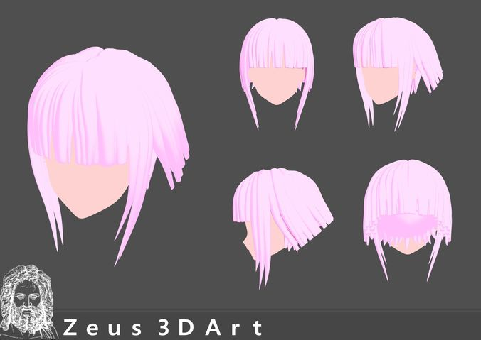 anime hair - 3 - 3Dprintable 3D print model | CGTrader