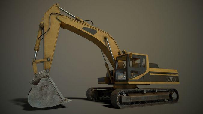 hydraulic excavator 3d model fbx 1