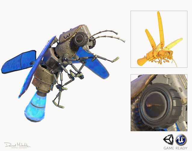 lightning bug pbr rig anim 3d model low-poly rigged animated max obj 3ds fbx dae mtl 1
