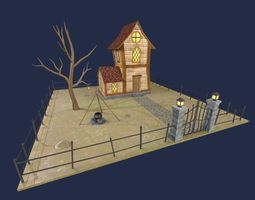 Fantasy House Low Polygon 3D model