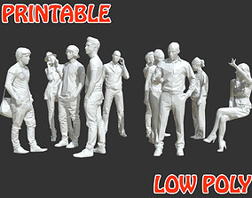 10 Low Poly People - Talking Posed - Printable 3D asset 1