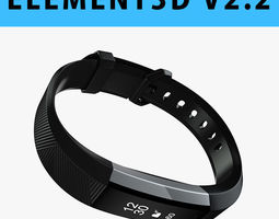 E3D - Fitbit Alta HR Black Steel model 3D model
