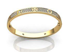 3D printable model Bracelet Diamond Paved Yellow Gold