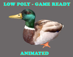 3D model Low poly Duck Bird Animated - Game Ready