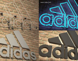 low-poly logo sign adidas sport 3d