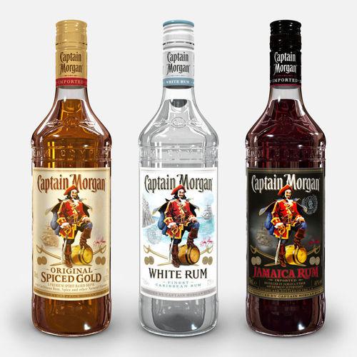 captain morgan bottle set 3d model max obj mtl 3ds fbx c4d ma mb 1