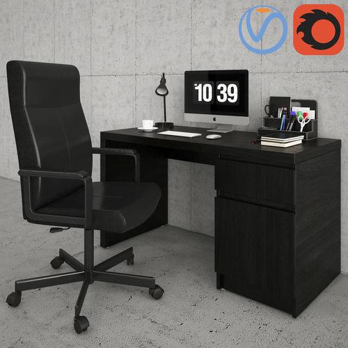 millberget and malm desk  3d model max obj mtl 1