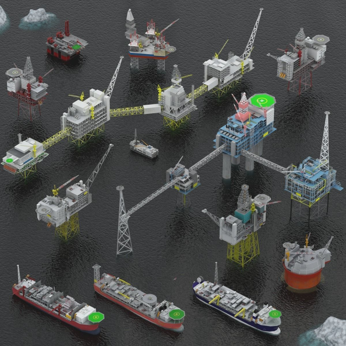 Oil rigs platform and FPSO pack