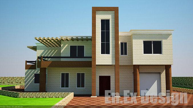 Modern villa 3d model cgtrader for Model villa moderne