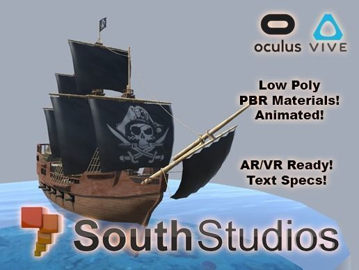 animated pirate ship ar vr unity 3dsmax 3d model low-poly animated max unitypackage prefab 1