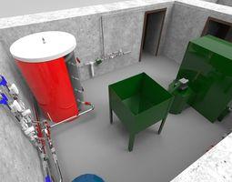 Industrial Boiler Room on wood pellets 3D model