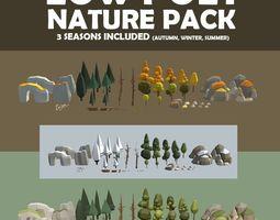 3D model Multi season low poly nature