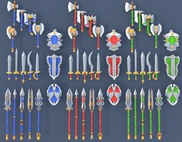 3D model Low Poly Fantasy Weapons