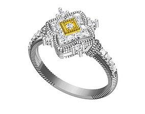 Wedding ring 3D print model gem