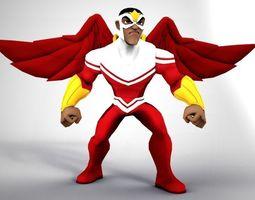 Falcon 3D model rigged