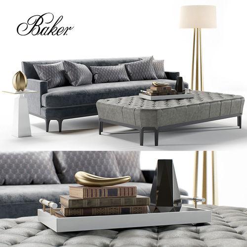Baker Celestite Sofa And Ottoman 3d Model Max Obj Mtl Fbx Unitypackage  Prefab 1 ...