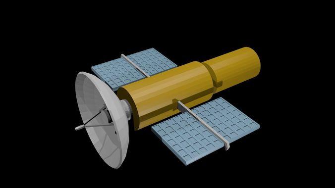 low poly satellite 3d model low-poly obj mtl 3ds fbx blend x3d ply 1