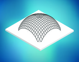 Dome octagonal pattern wire frame structure 3D asset
