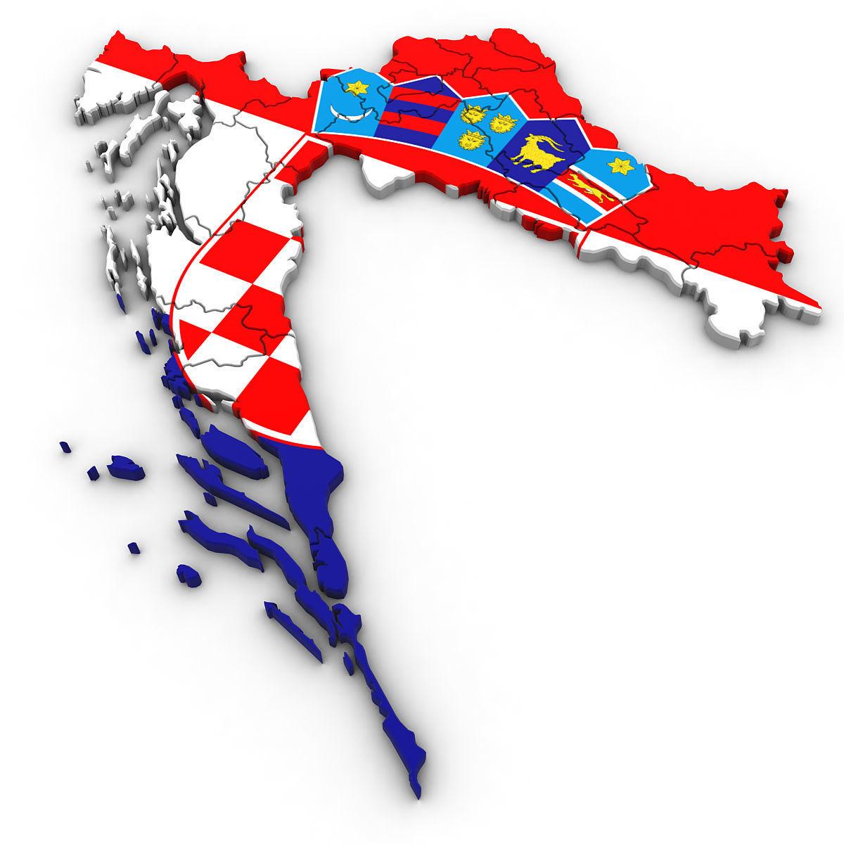 3d Political Map Of Croatia Cgtrader